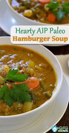 Hearty Low Carb AIP Paleo Vegetable Hamburger (ground beef) Soup | https://www.grassfedgirl.com/aip-paleo-hamburger-soup/