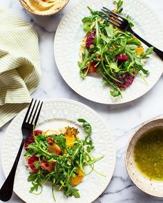 Check this out Arugula Salad with Hummus Orange and Roastedhellip