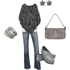 silver, created by #herringmn on #polyvore. #fashion #style American Vintage Evil Twin