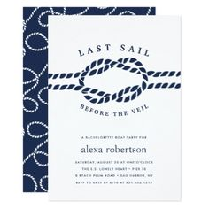 Last Sail Before the Veil Bachelorette Invitation - girl gifts special unique diy gift idea