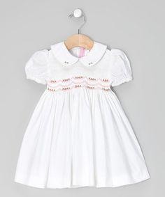 White Garland Smocked Dress