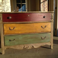 Refinished dresser--- LOVE the colors!!