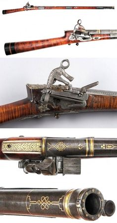 Caucasian / Circassian flintlock musket, hardwood stock with horn butt and inlaid staghorn details, forearm cap of horn, and massive miquelet lock and button trigger. Three silver bands retain the fine barrel, an exceptional example of pattern-welded damascus steel inlaid with gold at breach and muzzle in Gordian Knot motifs and struck with a gold signature reading, Work of Muhammad Saneh (?) Retains its original ramrod with profiled finial. Late 18th-early 19th century. Overall length 134…