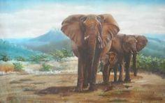 Elephants (Oil on Canvas)