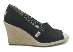 Black Calypso Canvas Women's Wedges | TOMS.com #toms If I like the style and fit of something, I'm known to buy it in every color/pattern it comes in.