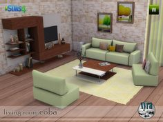 The set contains: sofa, seat, tv cabinet, coffee table, cushions, vases, paint and carpet Found in TSR Category 'Sims 4 Sets'