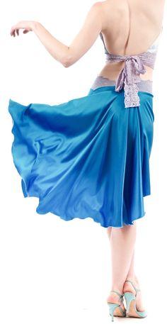 luxury handmade tango clothes www.poemaclothing.com | blue tango skirt | blue silk
