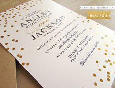 Gold Foil Wedding Invitations / Confetti in by AnnaHatcherDesign