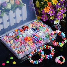 Multicolor Beads Jewelry Making Diy Kit Children Kids Toy V & Garden Creative Kitchen, Bead Crafts, Arts And Crafts, Loom Band Bracelets, Loom Bands, Rc Hobbies, How To Make Toys, Cheap Beads, Bead Kits