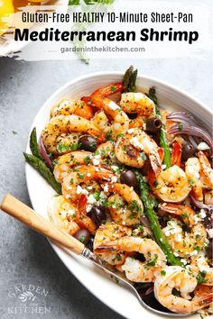 This Sheet Pan Mediterranean Shrimp recipe is easy, quick and effortless, perfect for a weeknight dinner or a weekend gathering! Mediterranean Shrimp Recipe, Mediterranean Diet Meal Plan, Mediterranean Dishes, Seafood Recipes, Cooking Recipes, Grilled Shrimp Recipes, Shellfish Recipes, Kitchen Recipes, Cooking Ideas