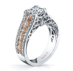 White gold and rose gold with a detailed design and diamonds on the side is stunning in an engagement ring. Vanna K is a truly unique line! JH Faske Jewelers (979) 836-9282