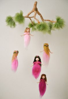 Nursery Mobile Waldorf inspired:  The Pink Colors Wool Fairies in a branch by MagicWool on Etsy https://www.etsy.com/listing/181225195/nursery-mobile-waldorf-inspired-the-pink