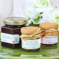Show your baby shower guests how your how sweet your baby is with these cute personalized jars of jam.