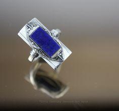 An Art Deco 935 silver, marcasite and lapis lazuli ring, Gustav Braendle -Theodor Fahrner, Germany circa 1930