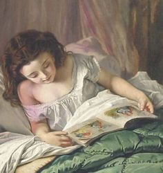 Reading Time, detail. Sophie Gengembre Anderson (1823-1903). Oil on canvas. Anderson was a French-born British artist who specialised in genre painting of children and women, typically in rural settings. Her work is loosely associated with the Pre-Raphaelite movement.