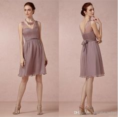 Dusty Mauve Sheer Chiffon Bridesmaid Dresses Short A-line Bridesmaid Dress For Plus Size Junior Girl Knee-length Wedding Party Dress Online with $73.62/Piece on Arrowma's Store | DHgate.com