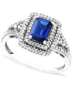 Angara Emerald-Cut Sapphire Ring with Trio Diamonds in Yellow Gold KnNBkKThA