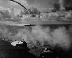 "Japanese plane shot down as it attempted to attack USS KITKUN BAY."" Near Mariana Islands, June US National Archives Photo Ww2 Aircraft, Aircraft Carrier, Military Aircraft, Mariana Islands, Foto Real, Get Shot, Battleship, Us Navy, World War Ii"