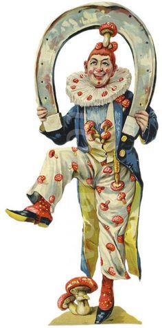 Laughing Clown Holding Horseshoe.