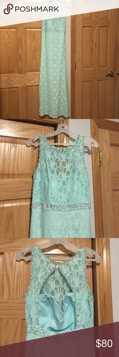 """Light blue long prom dress Beautiful sequence and lace prom dress. Built in bra. Tailored length to fit me (5'5"""" with 4"""" heels) perfect condition; only worn once! dancing queen Dresses Prom"""