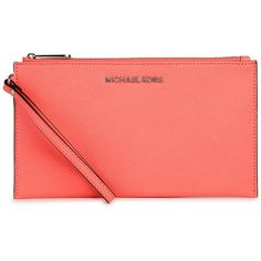 Womens Clutches Michael Kors Jet Set Travel Coral Leather Clutch ($135) ❤ liked on Polyvore featuring bags, handbags, clutches, red clutches, coral leather handbag, travel purse, genuine leather purse and michael kors