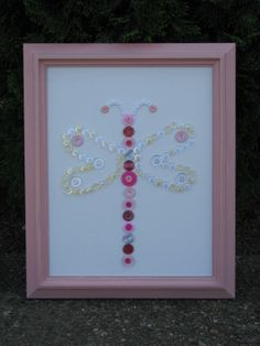Button art dragon fly made with love for Bella!