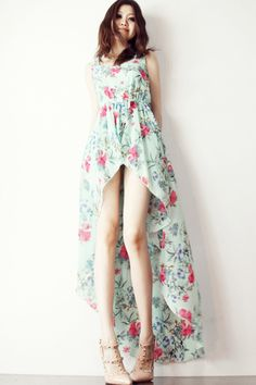 Floral High-Low Chiffon Dress - OASAP.com