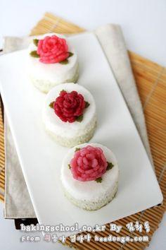카네이션 녹차 미니 떡케이크