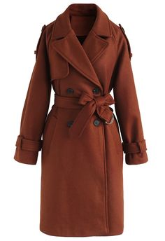 Snug Double-Breasted Wool-Blend Coat in Caramel - Retro, Indie and Unique Fashion Unique Fashion, Women's Fashion, Fashion Trends, Designer Trench Coats, Double Breasted Trench Coat, Dressed To Kill, Indie, Models, Winter Coat