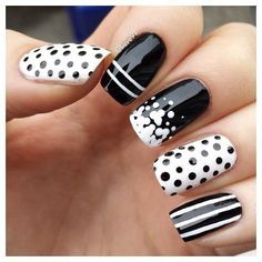 Elegant Black And White Nail Art Designs You Need To Try; Elegant Black And White Nail Art Designs; Elegant Black And White Nail; Black And White Nail; Black And White Nail Art Designs; Fancy Nails, Trendy Nails, Cute Nails, Diy Nails, Black And White Nail Designs, Black And White Nail Art, Black Nails, White Art, White Glitter