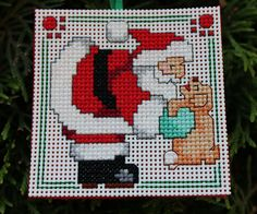 Handmade Cross Stitch Ornament  Santa with by IttyBrittyNeedle