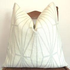 On BOTH SIDES - Designer Pillow - Decorative Pillow - Throw Pillow - Kelly Wearstler - Katana - 20 in Square - Cream Dove. $99.00, via Etsy.