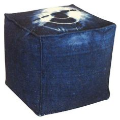 "for entryway (Blue and white tye dye indoor ottoman 100% Wool22""x22""x22""H100% WoolMade in the U.S.A.)"
