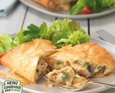 Chicken & Mushroom Filo Parcels Could also do cream of chicken soup Spring onions Spinach Sesame seeds Thigh fillets