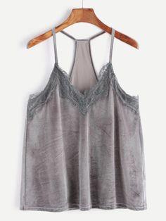 01cc888e83 Shop Grey Lace Trim Racer Back Velvet Cami Top online. SheIn offers Grey  Lace Trim Racer Back Velvet Cami Top   more to fit your fashionable needs.