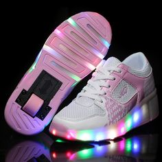 NEW 2016 Child Wheely's Jazzy LED Light Shoes Roller Skate Shoes For Children Kids Junior Girls Boys Sneakers With Wheels HOT!