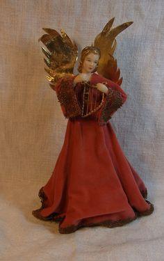 Vintage German Nuremberg Wax Angel with Harp Christmas Tree Topper #S