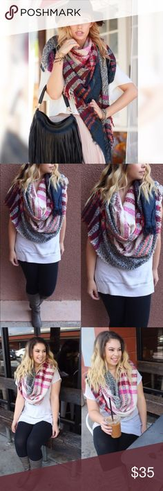 """LAST ONE Soft Oversized Plaid Fringe Blanket Scarf This oversized blanket scarf is heaven! Sooo soft with frayed drive edges. It's huge! Approx 47"""" x 65"""". You could literally use it as a blanket! Tan with blue, pink, maroon and soft orange Plaid.   [BUNDLE] for 15% off!  ❌No trades, PayPal, Holds 📷Instagram: @lovelionessie Accessories Scarves & Wraps"""