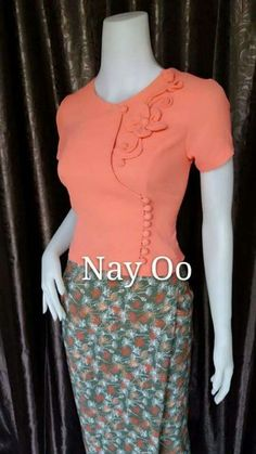 Fancy cross over blouse Dress Neck Designs, Fancy Blouse Designs, Frock Fashion, Fashion Outfits, Traditional Dresses Designs, Myanmar Dress Design, Myanmar Traditional Dress, Techniques Couture, Mode Hijab