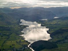 Aerial photo of Ullswater looking south-west from Pooley Bridge.