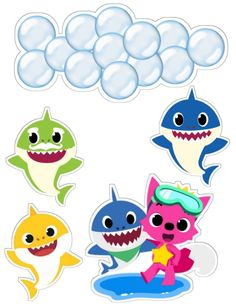 Under the sea cake toppers Sea creatures printable topper Nautical cupcake toppers Sea animals baby birthday Under the sea party - DIGITAL Baby Birthday, Birthday Party Themes, Baby Shark Doo Doo, Shark Family, Shark Cake, Baby Ruth, Baby Driver, Shark Party, Decoration