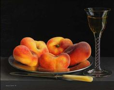 Still life with Flat Peaches and Wine