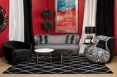 AICO Furniture - Studio Space 3 Piece Living Room Set in Black/Onyx - ST-AMSDM14-BCR-88-3SET