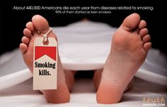 Vanessa Escalera- The photo aims to inform the viewer and change their opinion or behaviors in smoking cigarettes by showing the body at a morgue. The smoking kills tag relates to Aristotle's idea of pathos in appealing to an emotional appeal of death.    50 Creative Examples of Anti Smoking Advertisements