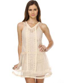 BB Dakota by Jack Sabrah Beige Lace Dress