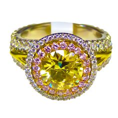 Ring a ding bling,  Yellow, pink and clear diamonds.