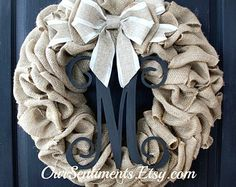 Chevron Burlap Wreath Etsy Wreath Wreaths for by OurSentiments