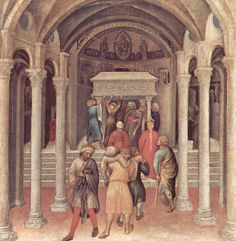Gentile da Fabriano. Miracle of the Pilgrims at St. Nicholas' Tomb, 1425, part of the Predella from the Quaratesi Polyptych. National Gallery of Art, Washington, D.C. 2,024×2,074 pixels