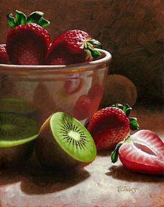 Strawberries And Kiwis Print by Timothy Jones
