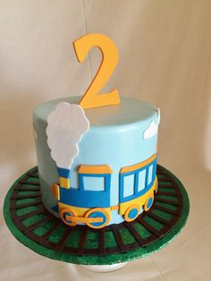 Birthday cake | kid's cake | train | train tracks | fondant | 2nd birthday